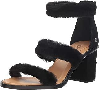 UGG Women's W DEL Rey Fluff Heel Heeled Sandal, black, 7 M US