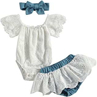 Newborn Infant Baby Girls Clothes Summer Off Shoulder Sleeve Lace Romper Tops+Ruffles Tulle Shorts