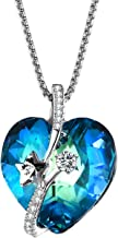 T400 Fashion Swarovski Elements Crystal Jewelry Heart Necklace for Women Purple/Blue Crystal Pendant Birthday Gift for Women