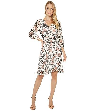 Sam Edelman Flower and Leopard Ruched Dress (Ivory Multi) Women