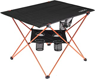 G4Free Folding Camp Table, Lightweight Large Portable Camping Table with 4 Cup Holders and Carrying Bag for Indoor Outdoor Picnic, BBQ, Beach, Hiking, Travel, Fishing