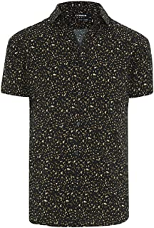 Connor Men's Leopard Shirt Short Sleeve Classic Tops Sizes XS-3XL Affordable Quality with Great Value