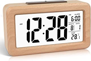 DTKID Réveil numérique en Bois à réglage Facile avec température, Date, rétro-éclairage, répétition, pour Chambre à Couche...