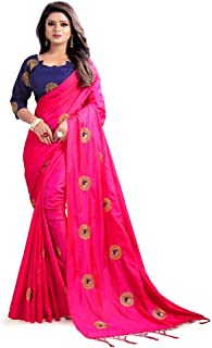 Mirraw Traditional Designer Paper Silk Embroidery Saree for Women with Unstitched Blouse