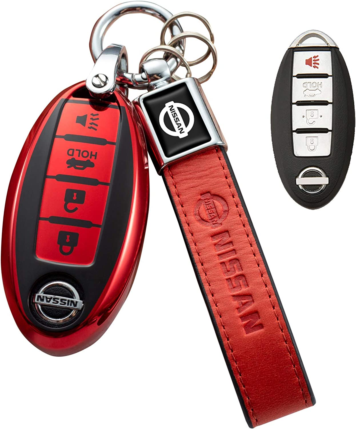 for Nissan Key Fob Cover,Key Fob Case for Nissan Altima Maxima Murano Rogue Sentra 370z Pathfinder Smart Remote Premium Soft TPU Nissan Key Cover 4 Button Pink