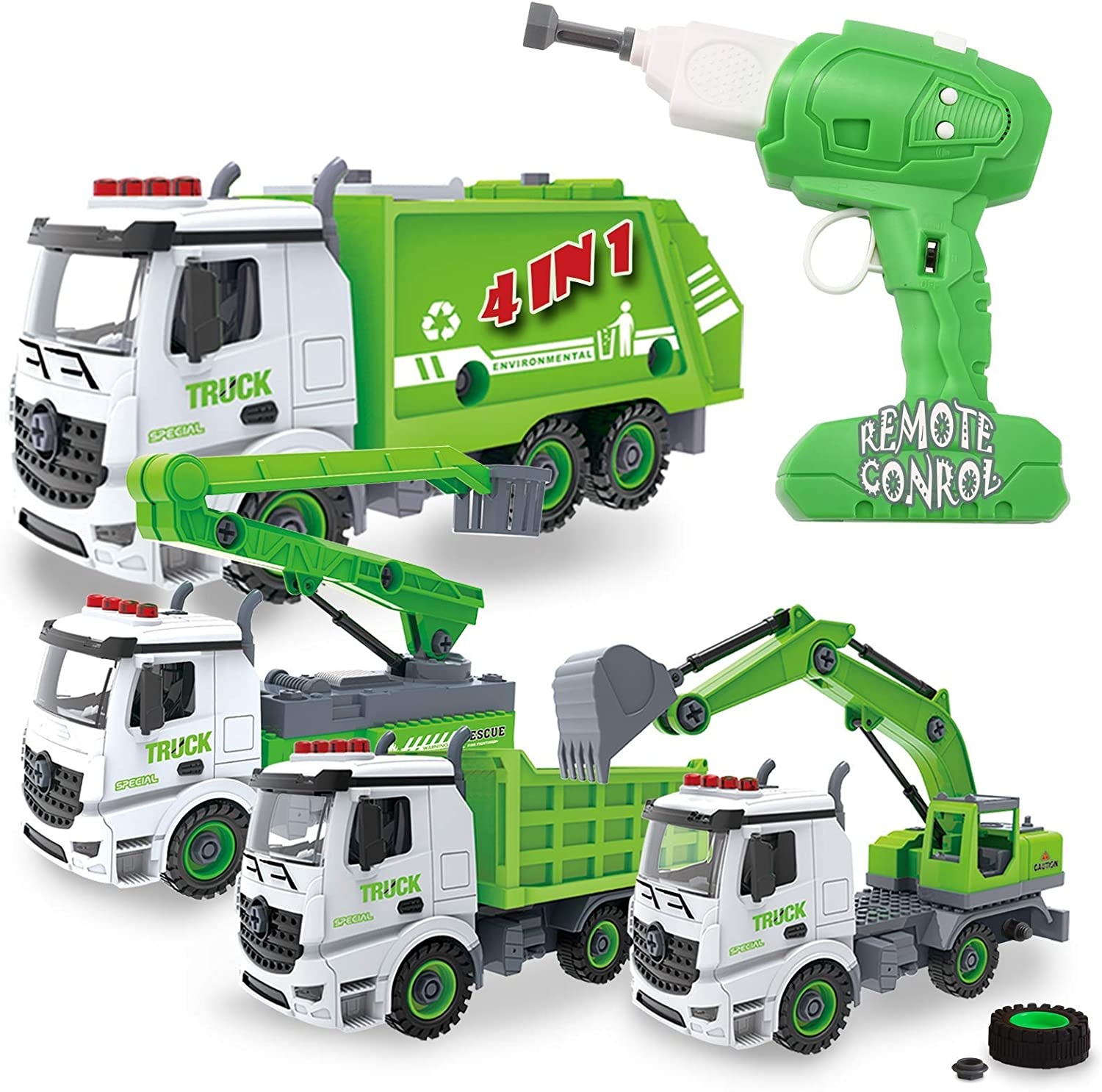 4-in-1 Take Apart Toys with Electric Drill Converts to Remote Control Car Garbage Trucks Waste Management Recycling Truck Toy for Boys: Toys & Games
