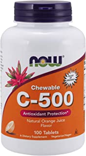 NOW Supplements, Vitamin C-500, Antioxidant Protection*, Orange Juice Flavor, 100 Chewable Lozenges