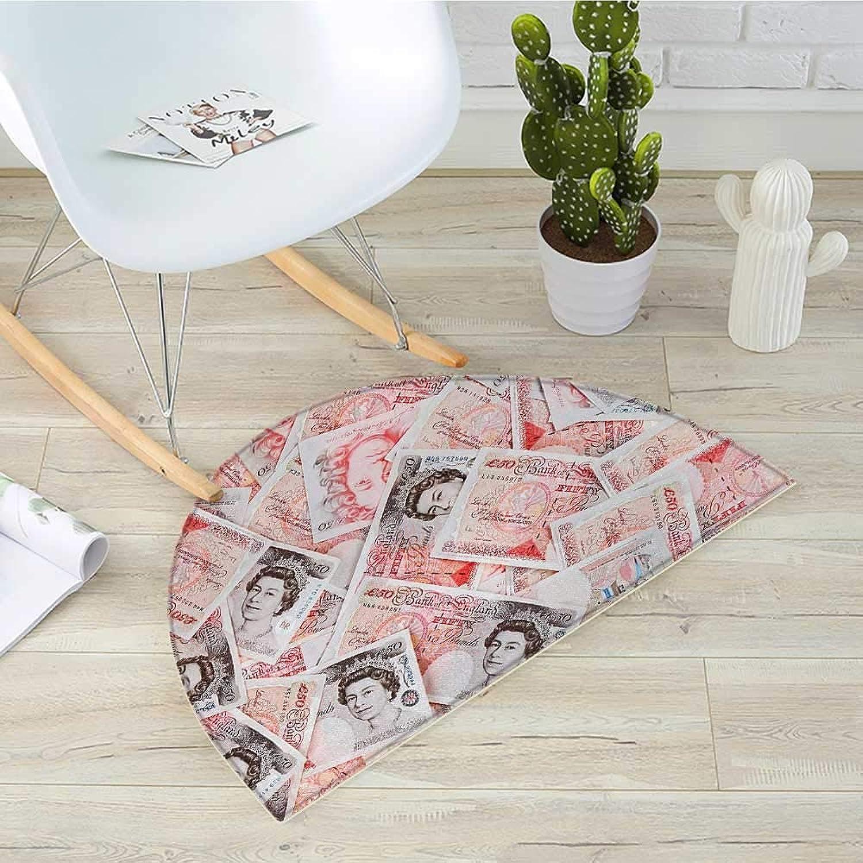 Money Half Round Door mats Bullseye Notes with a Portrait of Queen of England Paper Bills of Great Britain Bathroom Mat H 35.4  xD 53.1  Scarlet Taupe