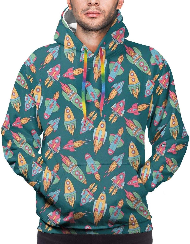 Men's Hoodies Sweatshirts,Childish Kids Themed Pattern with Moon Stars Dots Cartoon Style Night Sky