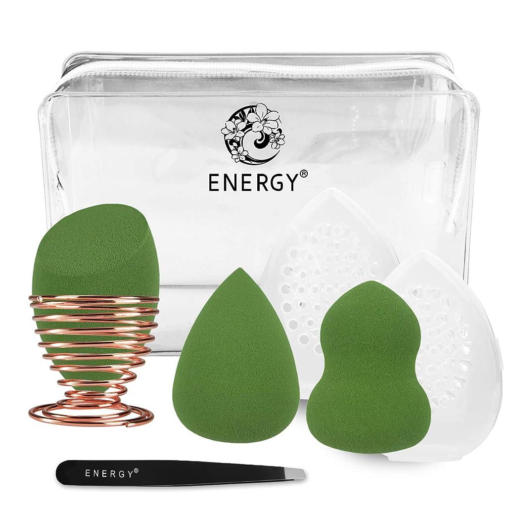 ビュッフェコーナー収益ENERGY多機能メイク用スポンジパフ メイク用スポンジパフセット(抹茶グリーン)