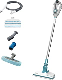 Black+Decker 2-in-1 Steam-Mop with Floor Extension and 6 Accessories, 1600W, White/Aqua - FSMH1300FX-QS, 2 Years Warranty