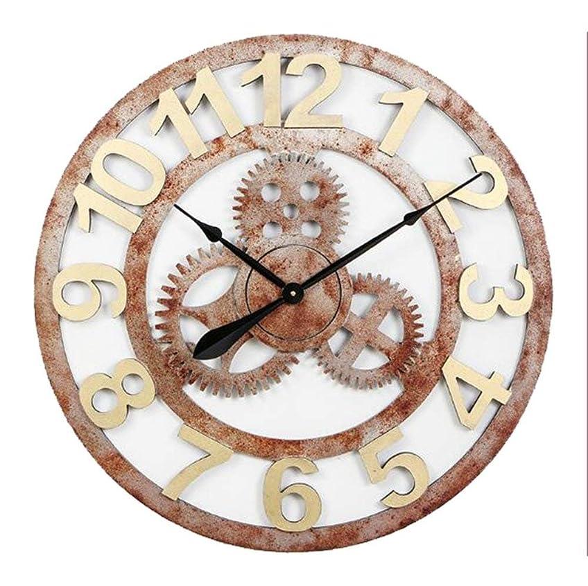 取り戻すクリーク気晴らしヨーロッパレトロファッション壁掛けメカニカルギアミュートラウンドアラビア数字時計リビングルーム/ベッドルーム/バー/オフィス/キッチン、直径70センチ&ブロンズ