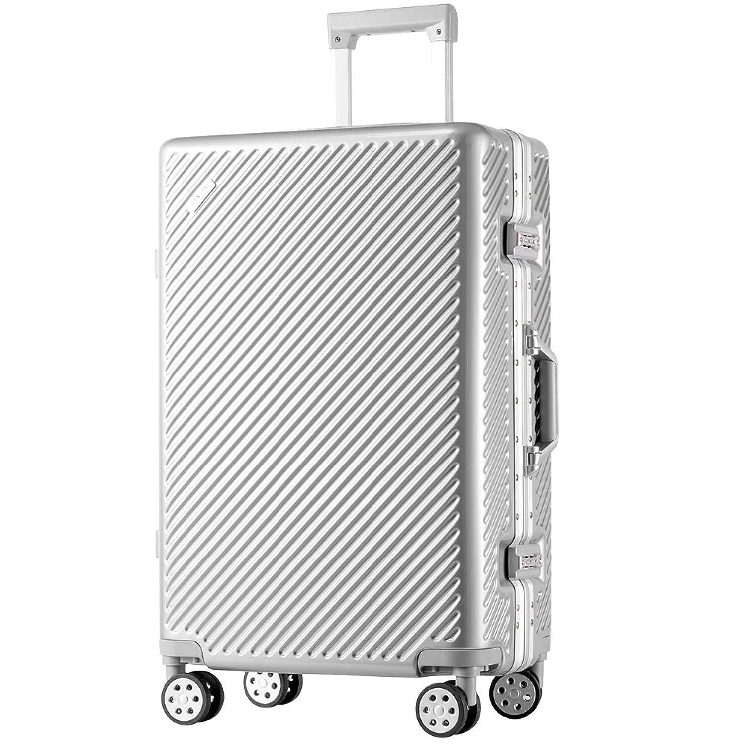 等白菜恋人TANOBI スーツケース アルミフレーム TSAロック搭載 斜め縞模様 トラベルバッグ 1年保証