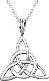 Women's 925 Sterling Silver Irish Celtic Knot Triquetra Trinity Knot Timeless Geometric Pendant Necklace