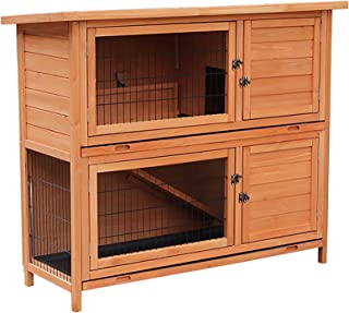 """Merax Rabbit Hutch,48"""" Bunny House Cage Indoor Outdoor 2-Story Small Animal Habitat Weatherproof with Removable Tray & Open Roof"""