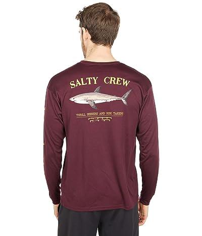 Salty Crew Bruce Long Sleeve Rashguard (Burgundy) Men