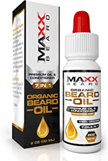 Maxx Beard 7 in 1 Organic Beard Oil and Conditioner (2oz) For Healthy Beard- Premium Formula for Deep Moisture-Relief From Itchy & Dry Beard- Fragrance Free- Soft Manageable & Luxurious Looking Beard