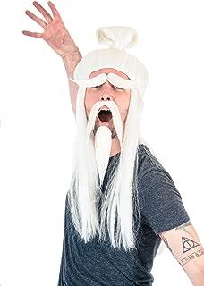 Adult Halloween White Fu Manchu Beard and Wig Costume Accessory
