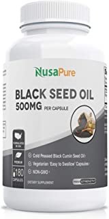 Black Seed Oil 180 500mg Per Softgel Capsule (Non-GMO & Vegetarian) Cold-Pressed Nigella Sativa Producing Pure Black Cumin...