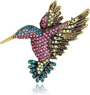 Antique Hummingbird Brooches Vintage Crystal Tone Bird Brooch Pins for Women