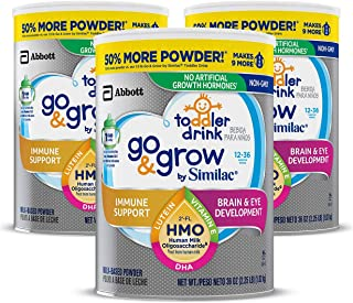 Go & Grow by Similac Toddler Drink, 3 Cans, with 2'-FL HMO for Immune Support and 25 Key Nutrients to Help Balance Toddler Nutrition, Non-GMO Milk-Based Powder, 36 oz Each