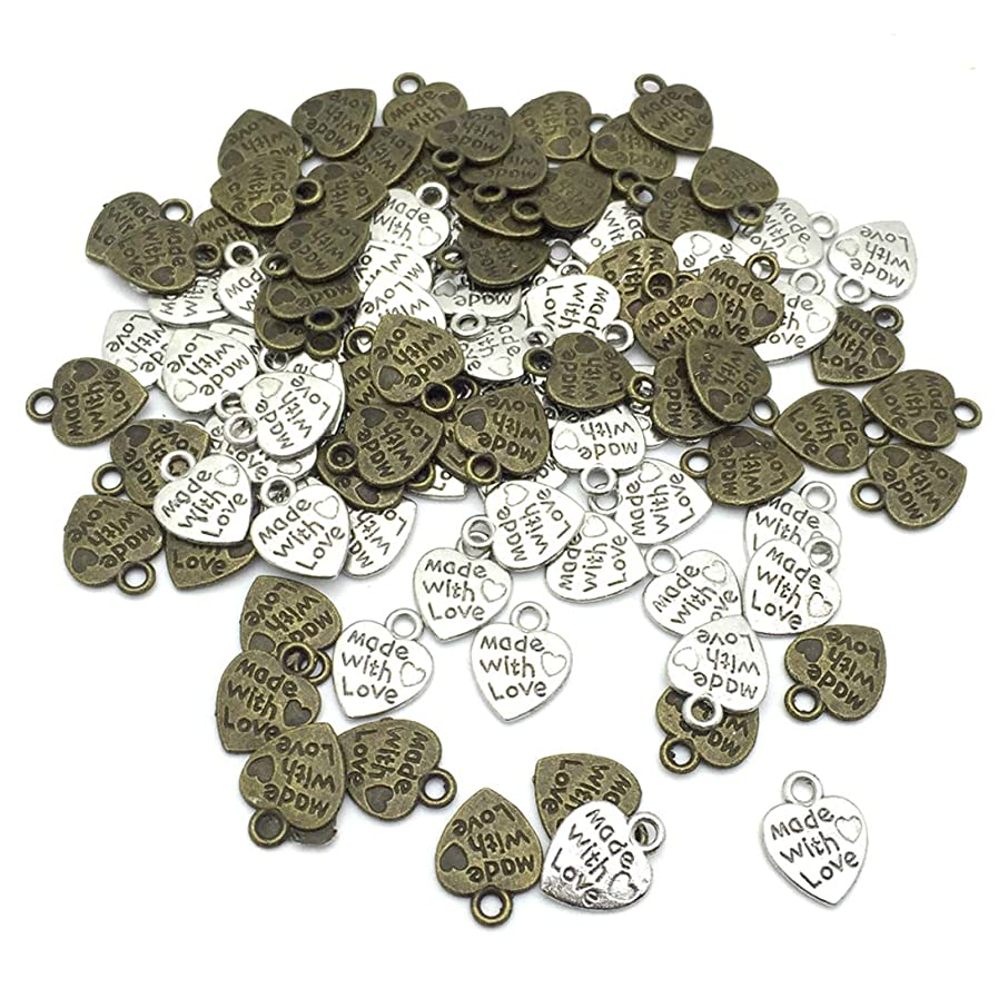 JIALEEY 100pcs Sweet Heart Spacer Charm Beads Mix Lot Heart Beads MADE WITH LOVE pendant for DIY Crafting jewelry Making Findings Accessories, Silver & Bronze
