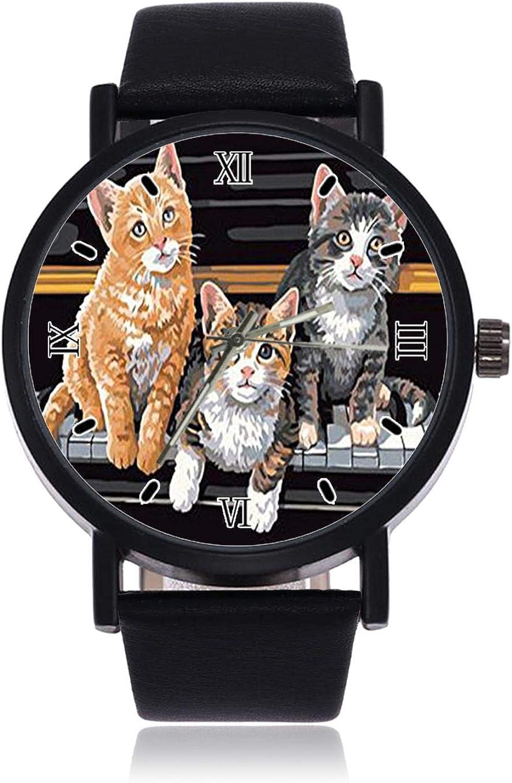 Three Cats Sitting On The Piano Reloj de Pulsera de Cuarzo de imitación para Mujer con Correa Negra para Hombre y Mujer