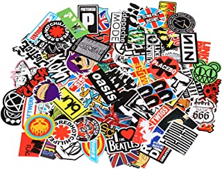 Band Stickers [100PCS] Rock and Roll Music Stickers Pack Vinyl Waterproof Stickers for Electronic Organ Guitar Piano Violin Drum kit Flute Brass Decals and Stickers for Laptop Skateboard Luggage