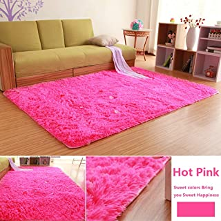 Bnxbb Ultra Soft 4Cm Thick Indoor Fluffy Thick Indoor Area Rug for Home Decor Living Room Bedroom Kitchen Dormitory Rectangle,Size:47 X 63 Inch (120cm X 160cm) Hot Pink