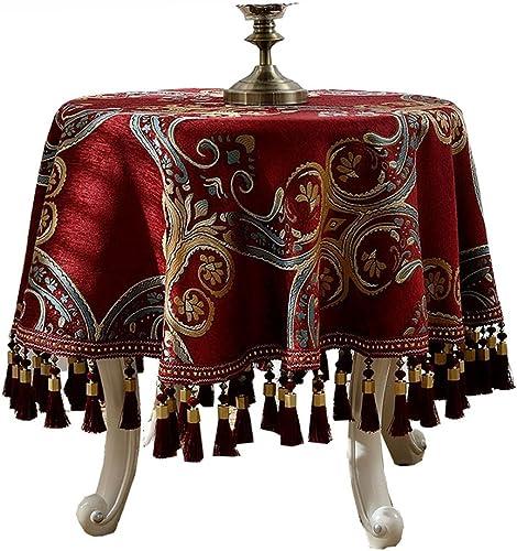Unbekannt Chenille Runde Tischdecke EuropäischenStil Heimgebrauch Tischdecke H ende Tee Tisch Serie (D  120cm  ) von SHOME