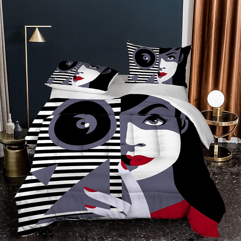 Fashion Women Comforter Milwaukee Mall Set King Size Aesthetic Art 3 Blac Indefinitely Piece