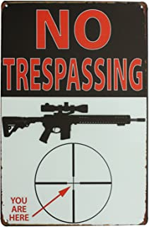 SUMIK No Trespassing You are Here, Metal Tin Sign, Vintage Art Poster Plaque Den Home Wall Decor