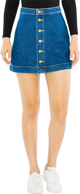 American Apparel Max 44% OFF Women's Denim Button Max 59% OFF Mini A-line Front Skirt