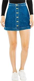 Women's Denim Button Front A-line Mini Skirt