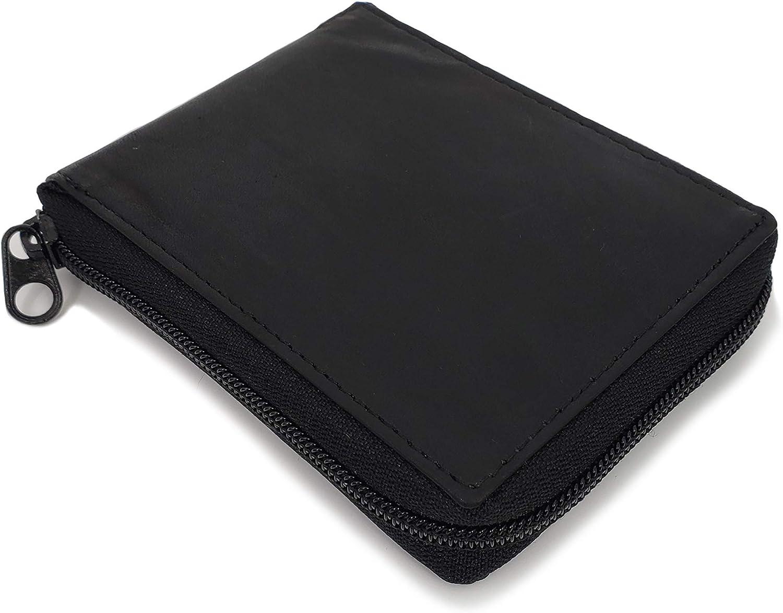 MENS Zip Around Bifold Wallet, Premium Black Leather, Flip Up ID and Card Holder
