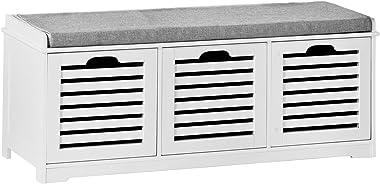 SoBuy® FSR23-W Banc de Rangement avec Coussin rembourré et 3 Cubes, Meuble d'Entrée Commode à Chaussure Banquette Confort