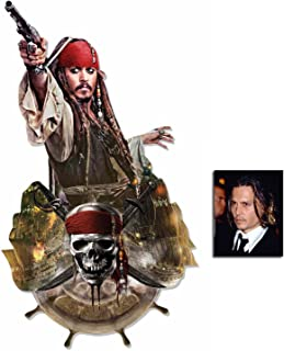 Fan Pack - Captain Jack Sparrow (Johnny Depp) Pirates of The Caribbean Wall Mounted Cardboard Cutout - Includes 8x10 Star Photo