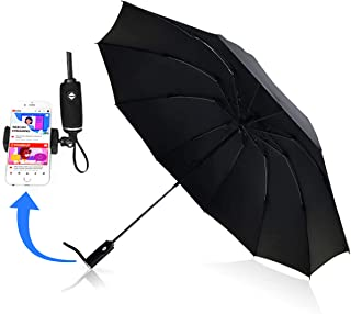 Heavy Duty Windproof Travel Umbrella Compact Reverse Folding 10 Rib Auto Open with Mount