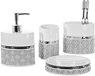 (Mirror Damask) - 4 Piece Bathroom Accessory Set - Gift Package - Soap Dish and Dispenser, Toothbrush Holder, and Tumbler ...