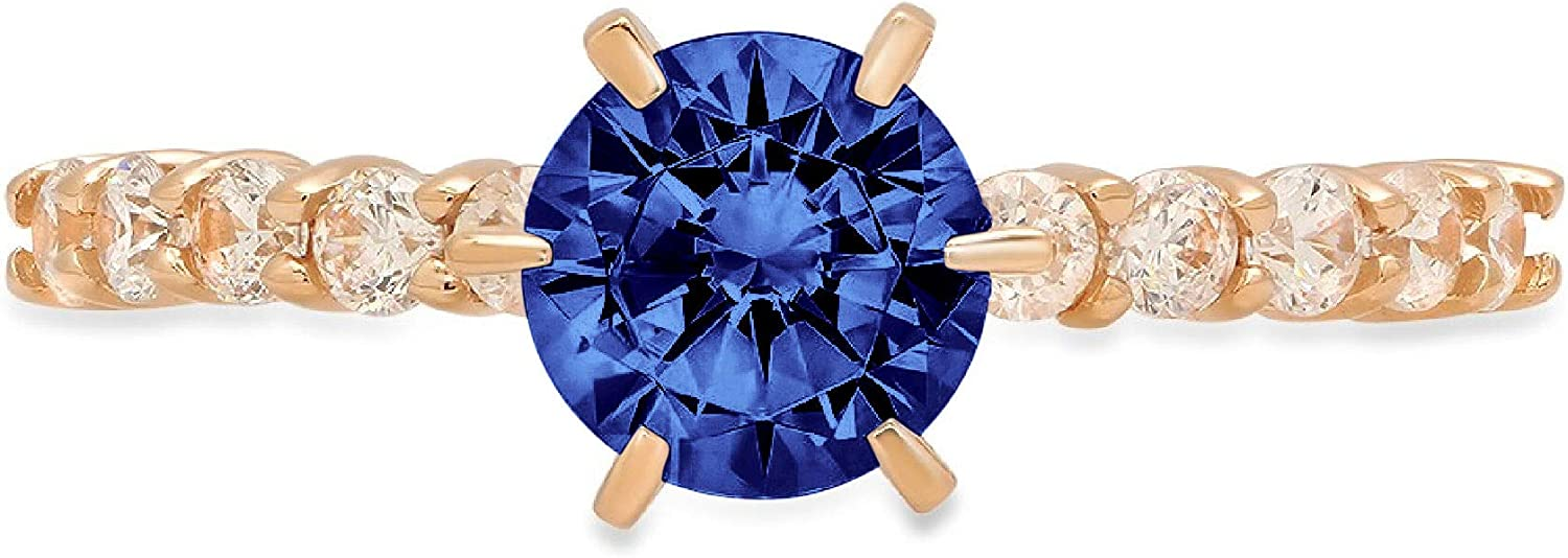 1.25 Brilliant Round Cut Solitaire Stunning Genuine Flawless Simulated Blue Tanzanite Modern Promise with accent Designer Ring 14k Yellow Gold