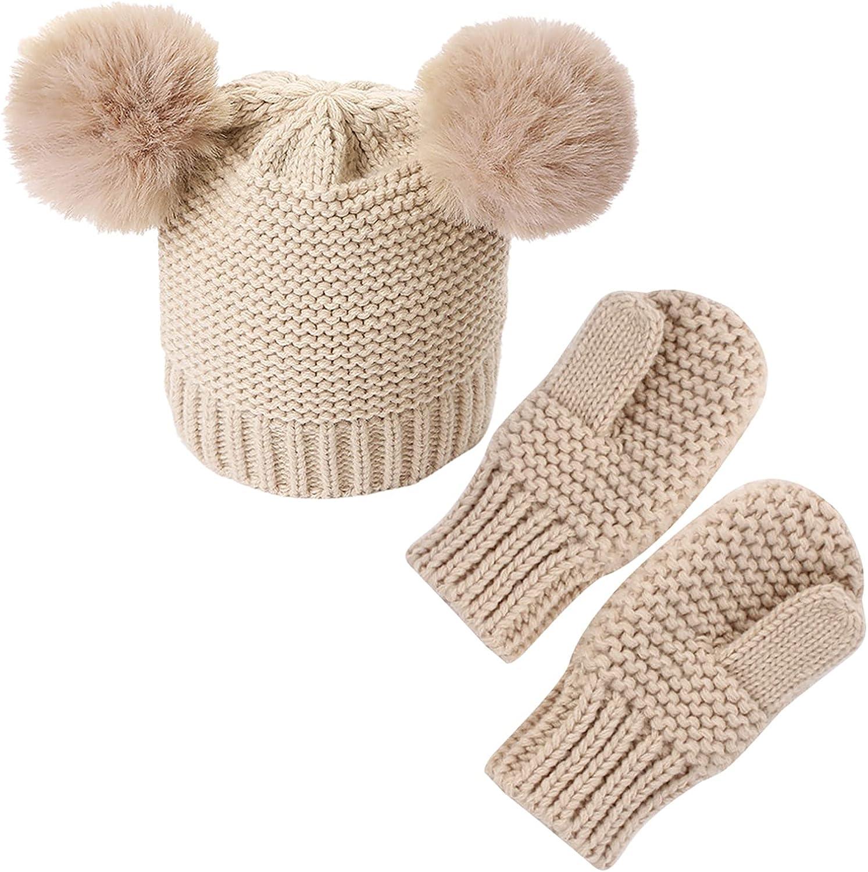 ROSEBEAR 2- Piece Newborn Baby Hat Mittens Set Infant Toddler Baby Boys Girls Warm Winter Autumn Knitted Wool Hats Gloves