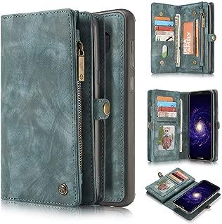 Galaxy S8Plus Wallet Case,KONKY Caseme Samsung Galaxy S8 Plus Wallet Case, Magnetic Detachable Removable Phone Cover Pouch Folio Durable Leather Purse Flip Card Pockets Holder Bag Smooth Zipper - Blue