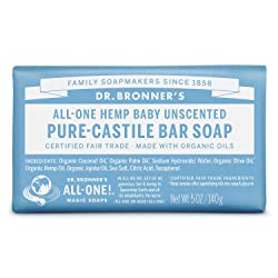 Dr. Bronner's - Pure-Castile Bar Soap (Baby Unscented, 5 ounce) - Made with Organic Oils, For Face,