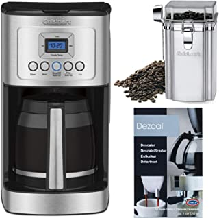 Cuisinart DCC-3200 Perf Temp 14-Cup Coffee Maker, Glass Carafe Bundle with Stainless Steel Includes Coffee Canister and Descaler (3 Items) (Renewed)