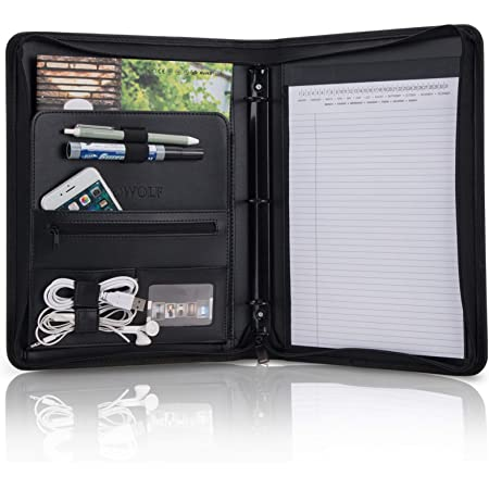 Black PU Leather Phone Stand /& Document Organiser Writing Pad with Portable Handle AtailorBird Conference Folder Portfolio