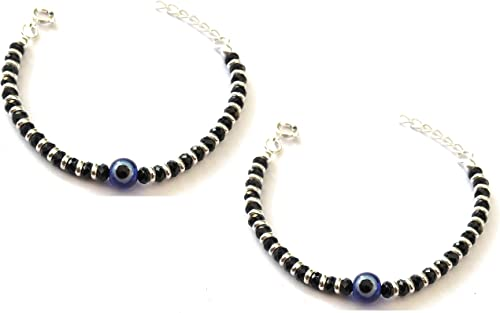 KUKSHYA 925 Exclusive Evil Eye Nazariya Bracelet with Black & Silver Beads (Crystal) in 92.5 Sterling Silver for Baby...