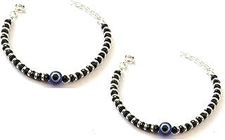 KUKSHYAJEWELLERS Exclusive 925 Sterling Silver Evil Eye Nazariya Bracelet with Black & Silver Beads (Crystal) for Baby Boy...
