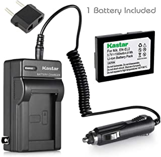 Kastar Battery (1-Pack) and Charger Kit for Nikon EN-EL2 Work with Nikon Coolpix 2500, Nikon Coolpix 3500, Nikon Coolpix SQ500 Digital Cameras