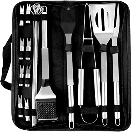 78Henstridge 9 PCS BBQ Barbecue Tool Sets with Carry Bag BBQ Accessories Stainless Steel Barbecue Grill Tools BBQ Utensils Shovel Brush Fork Clip Tongs 9 PCS