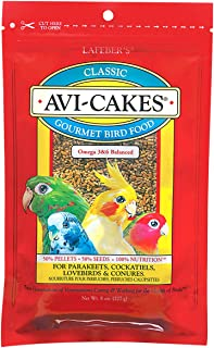 LAFEBER'S Classic Avi-Cakes Pet Bird Food, Made with Non-GMO and Human-Grade Ingredients, for Cockatiels Conures Parakeets (Budgies) Lovebirds